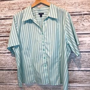 Westbound Woman Turquoise striped shirt 3X